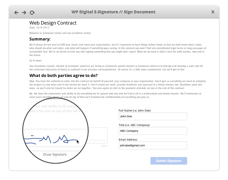Wp digital e signature sign document for Digitally sign documents free